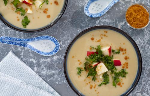 Healthy personal chef Carina prepared Creamy Curried Cauliflower Soup