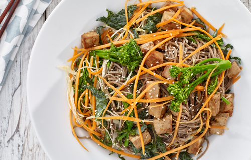 Healthy meals from personal chef Carina include Citrus Ginger Tofu Salad with Buckwheat Soba Noodles